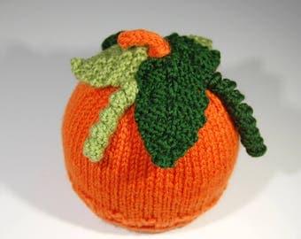 Size Newborn - Pumpkin Hat - Hand knit in Washable Wool