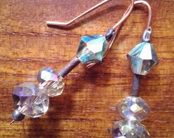 Unique handmade One-of-a-kind copper & crystal drop earrings