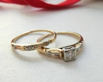 vintage diamond engagement wedding ring set 14k 18k gold and white gold bridal ring set - Vintage Wedding Ring Set