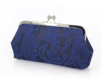 HALF PRICE SALE Navy on Navy Lily Lace Bridal Clutch + Silver frame | Bridesmaid Clutch Ready To Ship