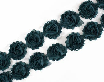 "Dark Teal : 14 Flowers  | 2.5"" Chiffon Craft Roses for Headband DIY Kits 