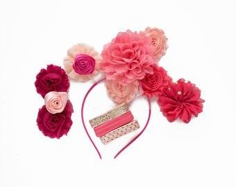 Eva : Pink + Coral DIY DELUXE  Headband + FOE Kit Makes 5+ Accessories  |  Chiffon Flowers Fold Over Elastic | Princess Parties & Birthdays