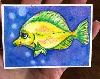 Yellow Fish watercolor aceo