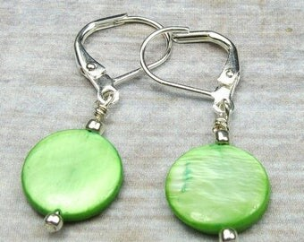 SALE, 50%, Neon Green Shell Earrngs that are round and dangle