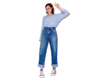 broken in to perfection amazing VINTAGE RUSLTER JEANS / boyfriend jeans high waisted jeans vintage jeans mom jeans indigo distressed jeans