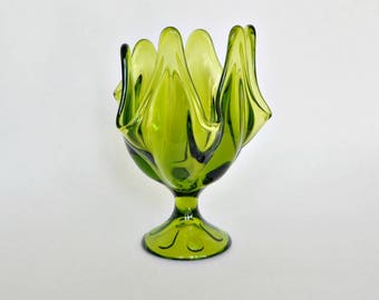 Green Handkerchief Vase - 6 Points - Made by Viking