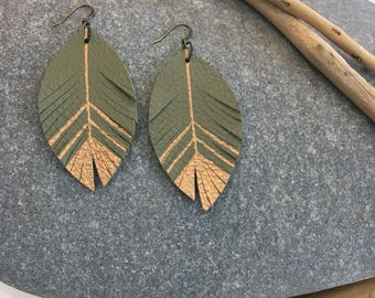 Leather feather metallic earrings in avocado green