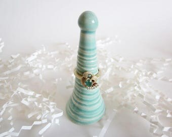 Ceramic Ring cones, engagement gift, ring cone, mint green, ring cone holder