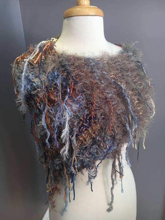 Fringed Plush Knit Cowl, faux fur, tapered cowl, triangle scarf, Dumpster Diva, Boho Fringed Poncho, wearable art, art yarn, knitwear, boho
