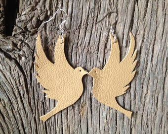 100% Real Leather Dove Earrings