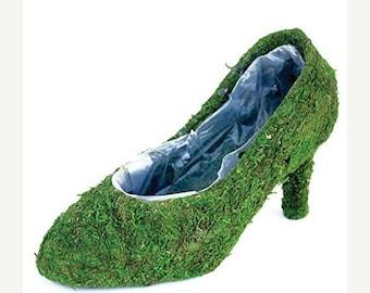 Save25% Moss shoe Planters 4 your choice-Shoe Baskets-Moss shoe-Moss boot-Moss planters-Moss pump-Sling back moss shoe