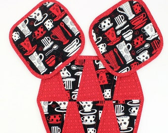 Coffee Hot Pads and Mug Rug or Trivet - 3 piece set in Red, Black and White with Coffee Cups, Pot Holders, Quiltsy Handmade