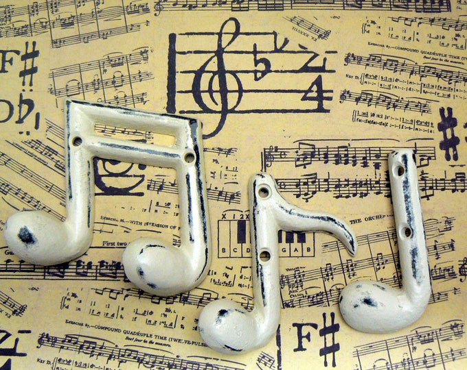 Musical Notes Cast Iron Wall Decor Set Symbols Shabby Chic OFF White