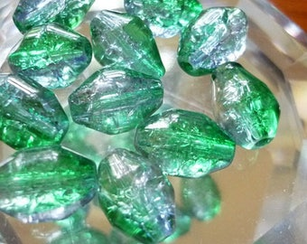 8 Sea colors Glass oblong Crackle Beads 12mm