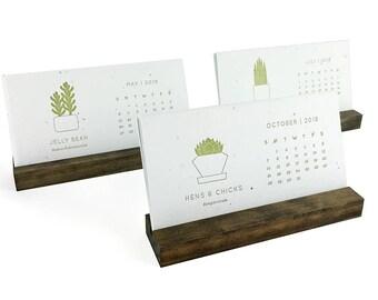 REFILL ONLY - 2018 Succulent Letterpress Desk Calendar - Wildflower Seeded Handmade Paper - Desktop Plantable