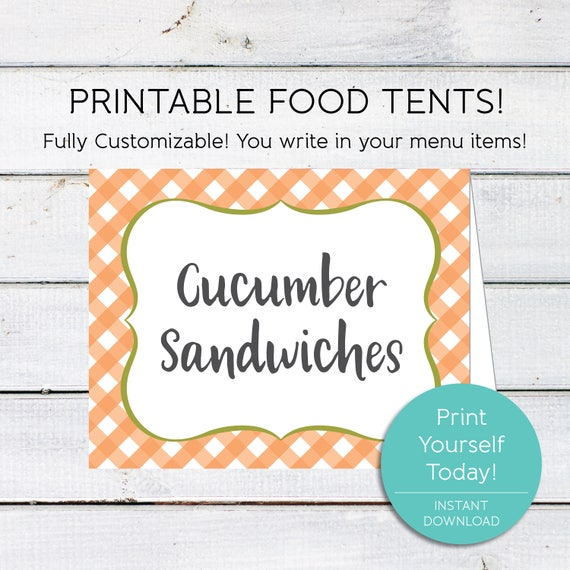 Food Tents Printable Party Food Tents Instant Download Peach