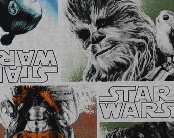 Star Wars The Last Jedi Characters Block Cotton Fabric by the yard and by the half yard