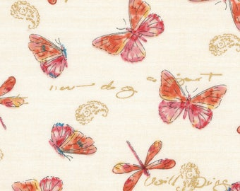 Dragonflies & Butterflies Premium Cotton Fabric by the yard and by the half yard