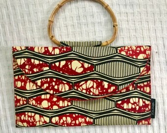 Bamboo Handle Small Bag, African Print Bag, Summer Bag Gift, Summer Fashion