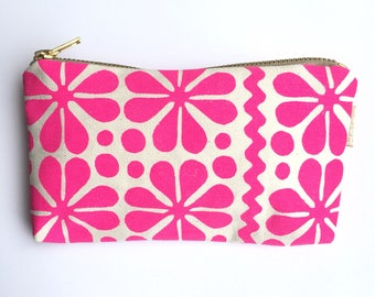 Fluorescent pink Parade print purse pouch makeup bag