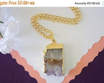 ON SALE Amethyst Slice Crystal Pendant, Amethyst Necklace, Amethyst Slice, Gold Amethyst Slice, Gold Plated Purple Rock,AMS19