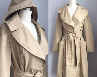 Vintage 1970s Hooded Belted Trench Coat Size Small Medium