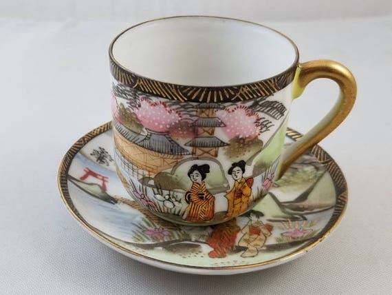 Vintage hand painted Made in Occupied Japan Ardalt demitasse cup & saucer, porcelain, bone china, tea, coffee, tea time, tea party, high tea
