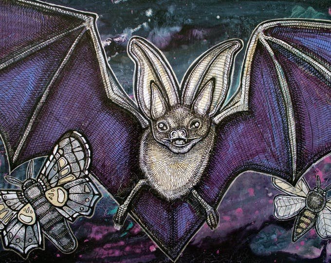 "Original ""Night Fliers"" Bat and Moth Painting by artist Lynnette Shelley"