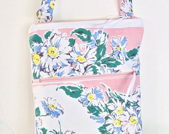 Vintage Tablecloth Bag, Cross body Bag, Hipster Bag, Shoulder Purse, Double Zipper Purse, Shabby, Cottage Chic, Upcycled, OOAK, Handmade