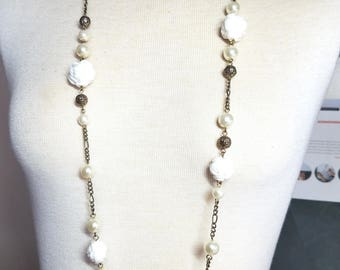36 inch Vintage long necklace with chain, beads white Roses