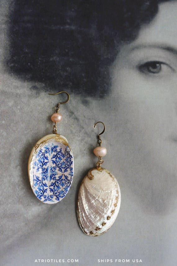 Shell Earrings Portugal Azulejo Tile Buried Treasure - Church of Mercy PoRTO 1590 - Blue Tiles