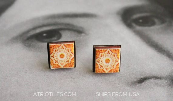 STUD Earrings Portugal Tile Orange Azulejo Portuguese Stainless Steel Posts Hypo allergenic Cartaxo -  Gift Box included Ships from USA 1545