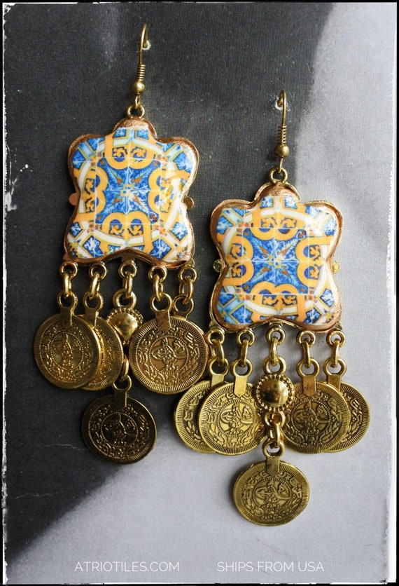 Earrings Tribal Arab Ethnic Persian Turkish Portugal Tile Antique Azulejo Gold Blue 17th Century Tomar Santa Iria Church -