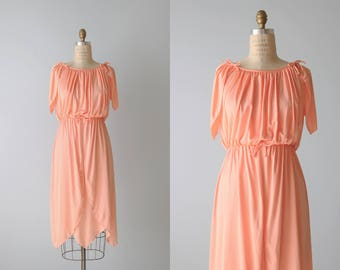 1970s Peach Polyester Dress / 1970s Fashion / Grecian Dress / Size S