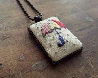 Hand Stitched Umbrella Pendant Necklace, Bright Color Palette, Umbrelling, Gift for Her