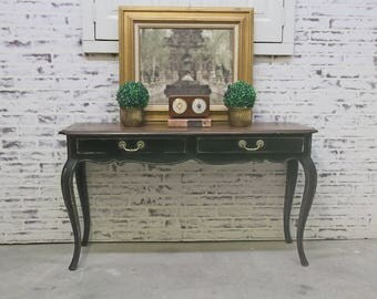Console Sofa Table, Distressed Black Cottage Style -TB701- Shabby Vintage Farmhouse Chic, French Country