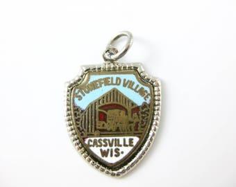 Vintage Sterling Silver Stonefield Village Cassville Wisconsin Travel Shield Charm