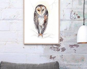 NEW Australian Barn Owl Art Print A3, A2 & A1 Bird Watercolor Illustration giclee Art Print