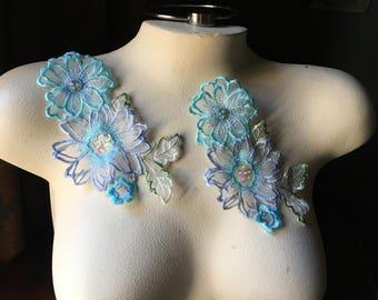 2 AQUA 3D Appliques LACE Beaded Organza Flower Applique for Lyrical Dance, Ballet, Garments, Costumes CA 619aq