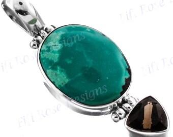 "1 13/16"" Turquoise Smokey Quartz 925 Sterling Silver Pendant"