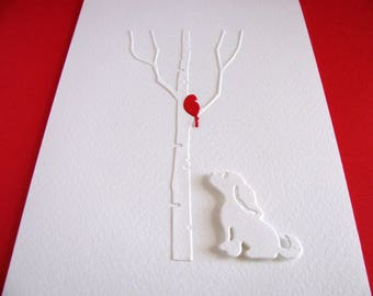 5X7 / Dog Gazing at Single Bird on Bare Birch Tree Creamy Ivory Card / Red Bird As Shown or YOUR Colour Choice / Made to Order