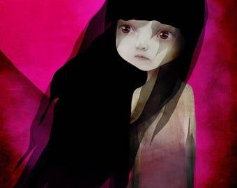 "50% Off SALE Fine Art Print - ""Lisbeth"" - Little Dark Haired Girl with sad eyes -  11x17 or 13x19 Medium to Large Digital Art Print"
