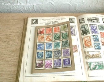 Italy Travel Notebook | Upcycled Travel Journal | Recycled Italian Postage Stamp Collection, Philately Postal History | Eclectic Travel Gift