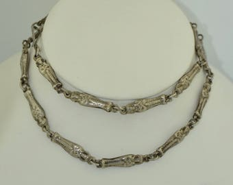 Art Deco Sterling Silver Egyptian Revival Double Sided Necklace