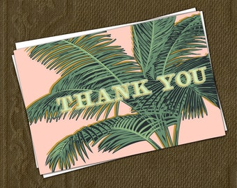 Palm tree leaves THANK YOU printable cards
