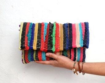 Bohemian Clutch. Small Boho Envelope Clutch Purse. Unique Gift for Women. Multicolor Boho Chic Ethnic Clutch.  Upcycled Kourelou Kilim Bag