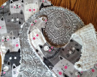Flannel and Chenille Burp Cloth and Bib Set, Grey Kitties, ready to ship