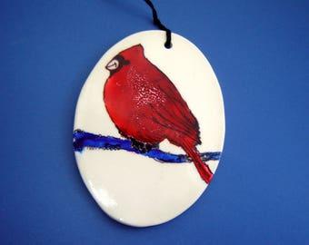 Cardinal Ornament – alcohol ink painting – Fine Art Ceramics – red bird – handmade ceramics – Goldhawk Pottery – home décor