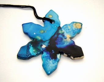 Blue Snowflake Ornament – Holiday Decoration – Winter Ornament - Alcohol Ink Art – Home Décor – Stoneware Pottery