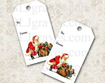 Printable Santa Christmas Gift Tags Christmas Party Favor Treat Bag Tags TC010
